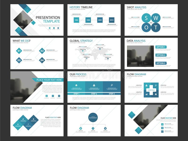 Grupo infographic do molde dos elementos da apresentação do negócio, informe anual ilustração royalty free