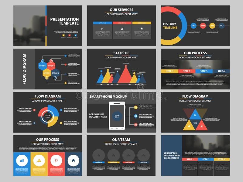 Grupo infographic do molde dos elementos da apresentação do negócio, projeto horizontal incorporado do folheto do informe anual ilustração do vetor