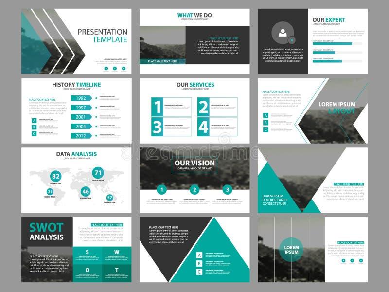 Grupo infographic do molde dos elementos da apresentação do negócio, projeto horizontal incorporado do folheto do informe anual ilustração royalty free