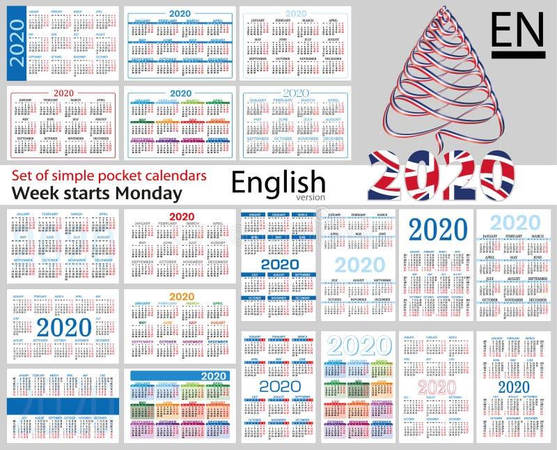 Grupo inglês de calendários do bolso para 2020 ilustração do vetor