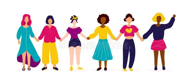Grupo inter-racial de mulheres que guardam as m?os ilustração do vetor