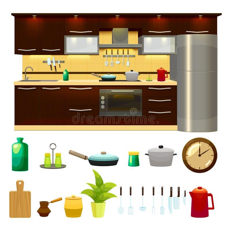 Grupo interior do ícone da cozinha ilustração stock