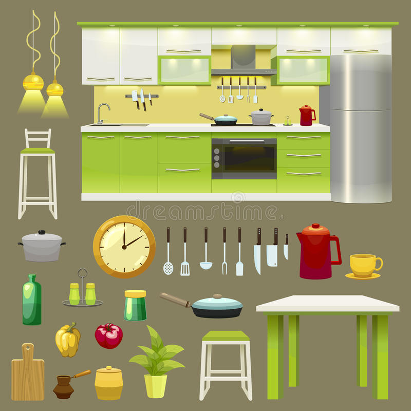 Grupo interior do ícone da cozinha moderna ilustração stock