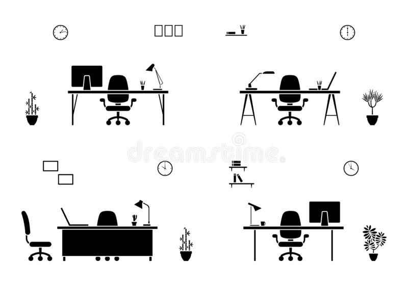 Grupo interior do ícone do local de trabalho do escritório Silhueta da sala da empresa ilustração stock