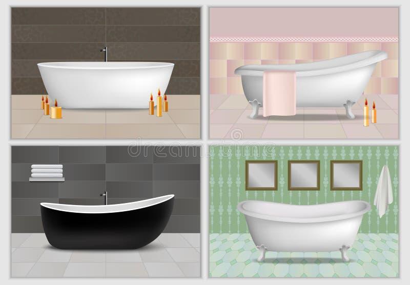 Grupo interior do modelo da banheira, estilo realístico ilustração royalty free