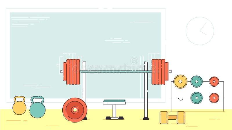 Grupo interno interior da sala do equipamento do exercício do Gym Ícones lisos do estilo do esboço linear do curso Powe monocromá ilustração stock