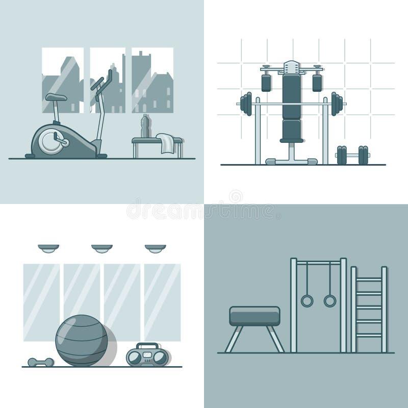 Grupo interno interior da sala do equipamento do exercício do Gym L ilustração stock