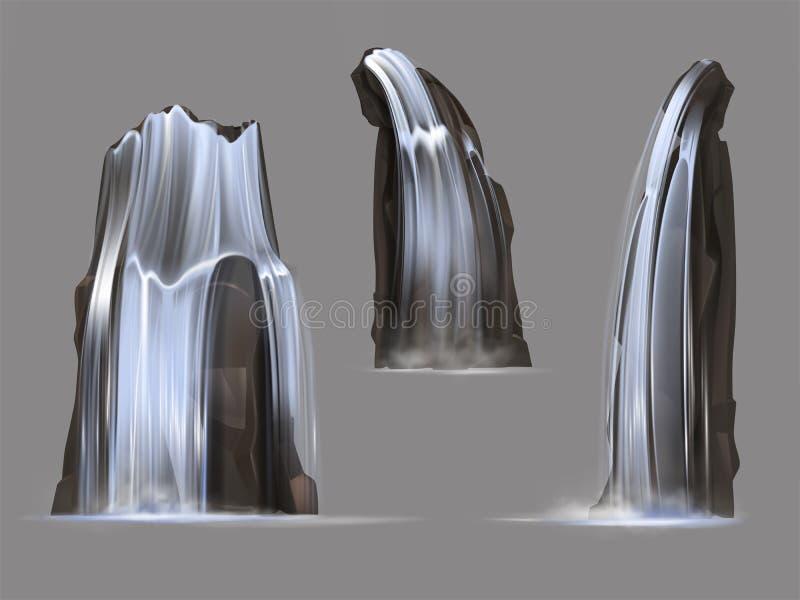 Grupo isolado cachoeiras da ilustração do vetor ilustração stock