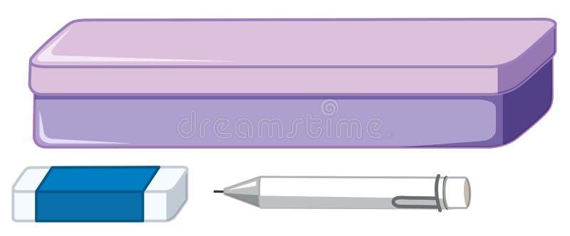 Grupo isolado de estacionário ilustração stock
