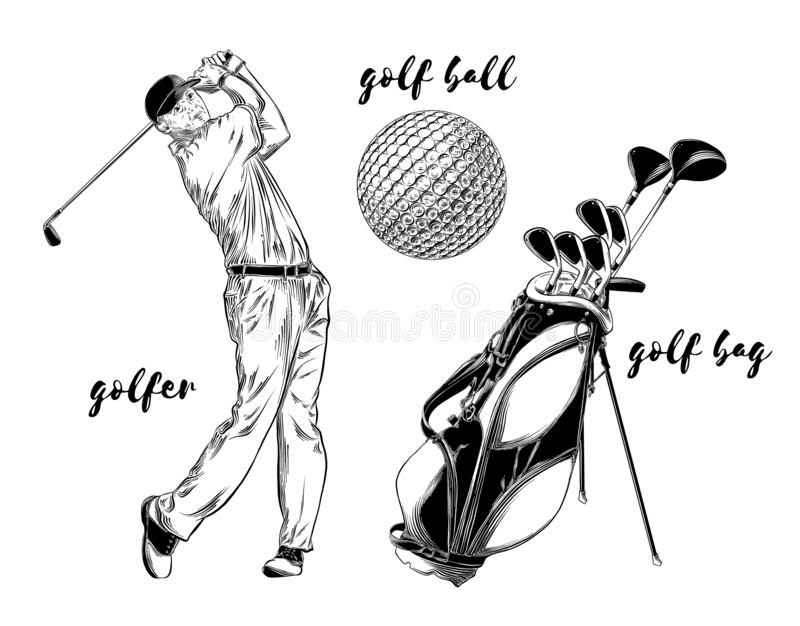 Grupo isolado do golfe no fundo branco Elementos desenhados à mão tais como o jogador de golfe, a bola de golfe e o saco de golfe ilustração do vetor