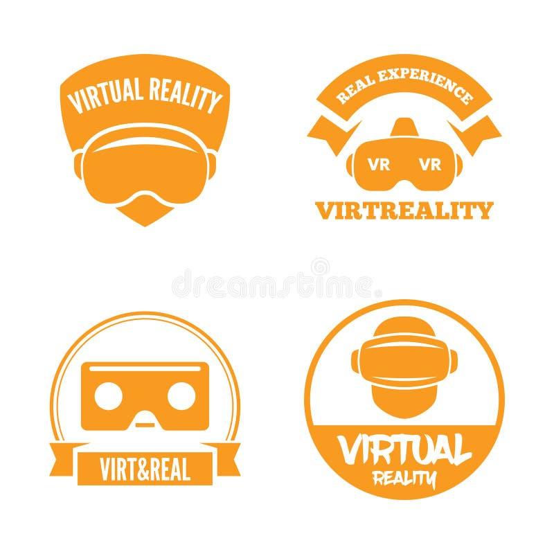 Grupo isolado do logotype dos auriculares do vr Logotipo do capacete da realidade virtual coleção Cabeça-montada do ícone da expo ilustração do vetor