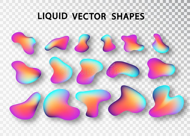 Grupo isolado do molde da forma disposi??o fluida Formas abstratas coloridas Elementos din?micos na moda futuristas Inclina??o l? ilustração stock