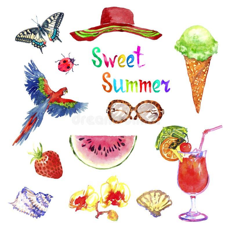 Grupo isolado do rosa da ilustração do verão aquarela doce, Papilio Machaon, chapéu, vidros, morango, gelado, escarlate do papaga ilustração royalty free