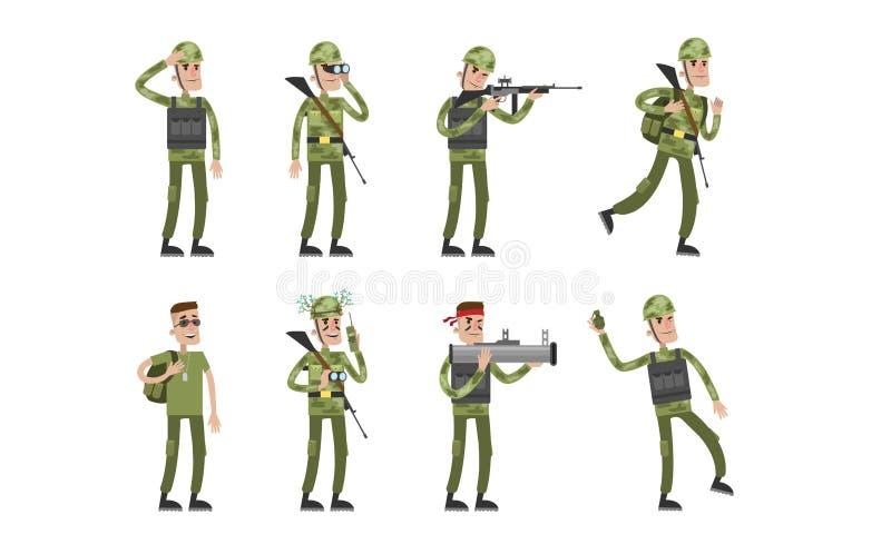 Grupo isolado do soldado ilustração royalty free