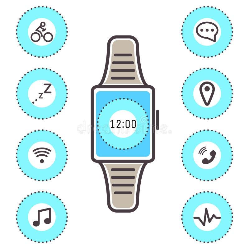 Grupo isolado do vetor do relógio de pulso da tecnologia ícones espertos ilustração royalty free