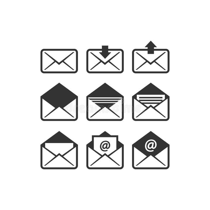 Grupo isolado preto do ícone do vetor do envelope do e-mail ilustração do vetor