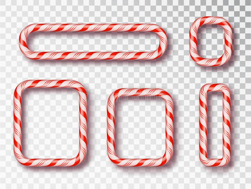 Grupo isolado quadro dos doces do Natal Projeto vazio do Natal, quadro torcido vermelho e branco realístico do cabo Ano novo 2019 ilustração do vetor