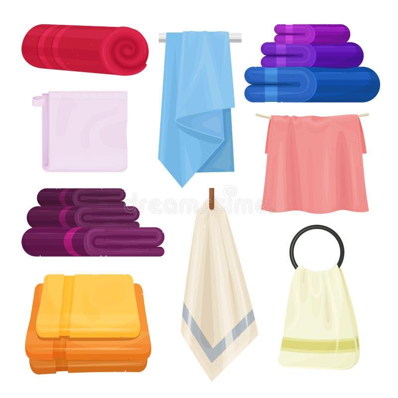 Grupo isolado toalhas do vetor da cozinha e do banheiro ilustração royalty free