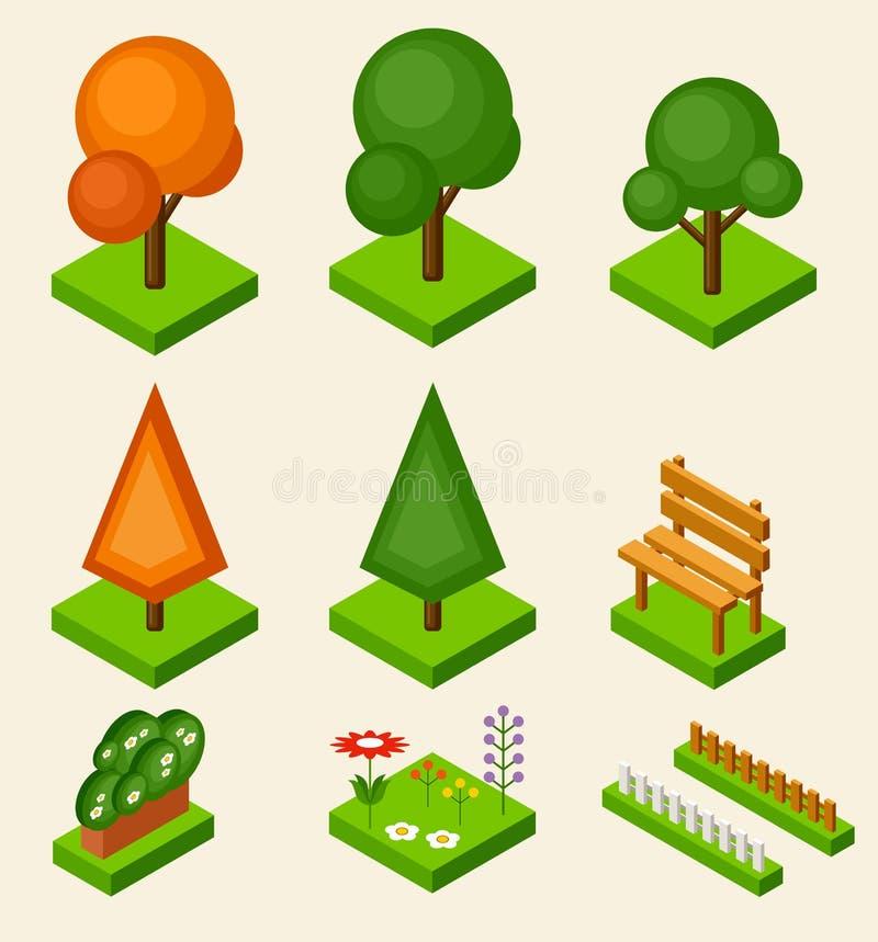 Grupo isométrico da árvore do vetor ilustração royalty free
