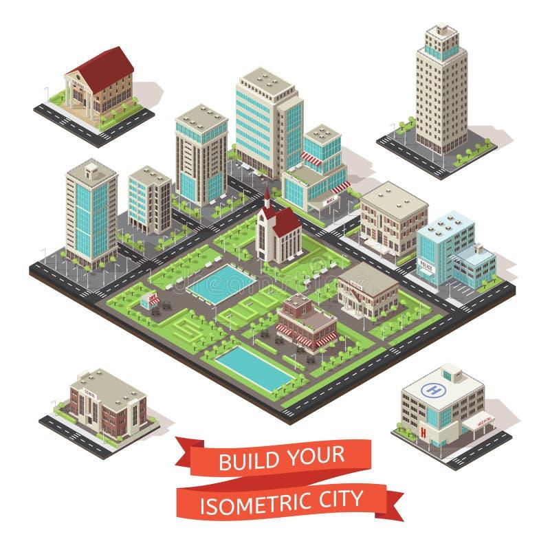Grupo isométrico da criação da cidade ilustração royalty free