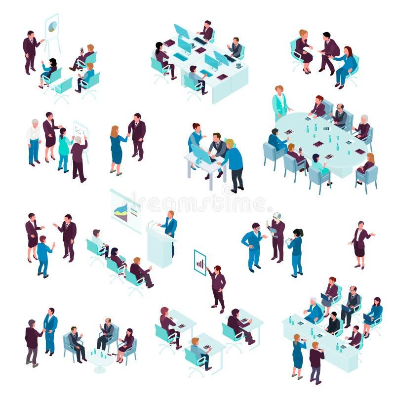 Grupo isométrico da educação do negócio ilustração royalty free