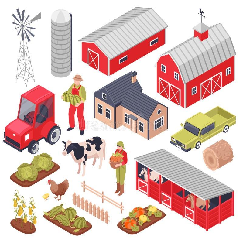 Grupo isométrico da exploração agrícola ilustração royalty free