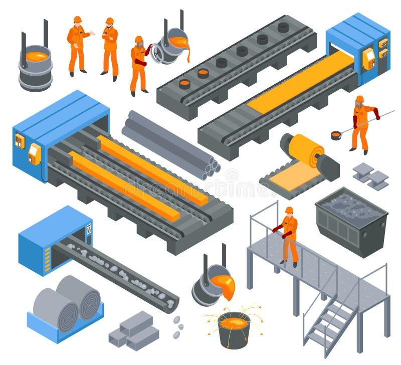 Grupo isométrico da indústria de aço ilustração stock