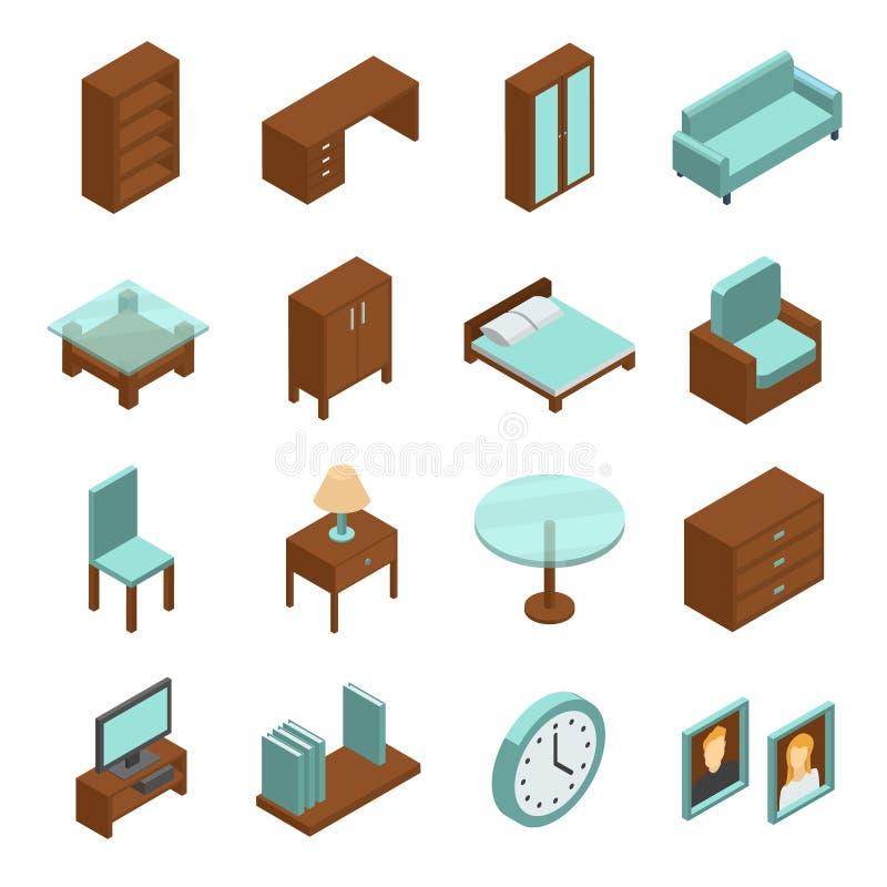 Grupo isométrico da mobília ilustração royalty free
