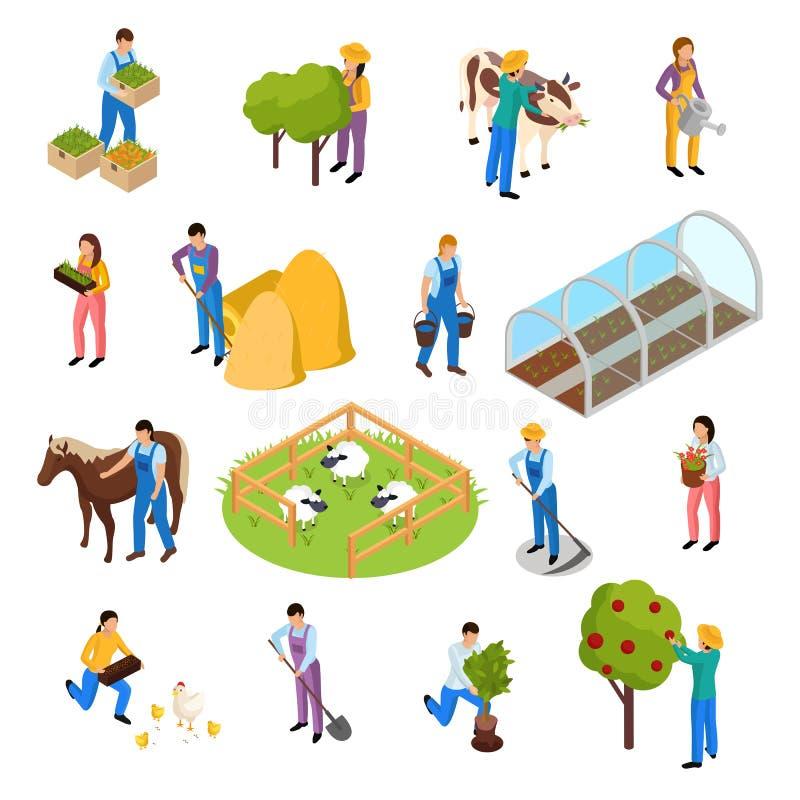 Grupo isométrico da vida da exploração agrícola ilustração royalty free
