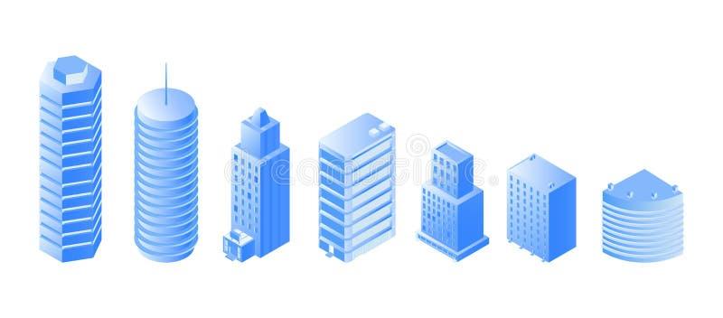 Grupo isométrico das ilustrações da arquitetura urbana ilustração royalty free