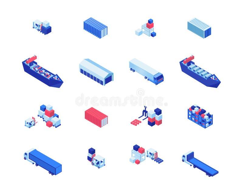 Grupo isométrico das ilustrações do vetor do negócio de transporte Transporte navios, armazenamento do armazém, empilhadeiras que ilustração do vetor