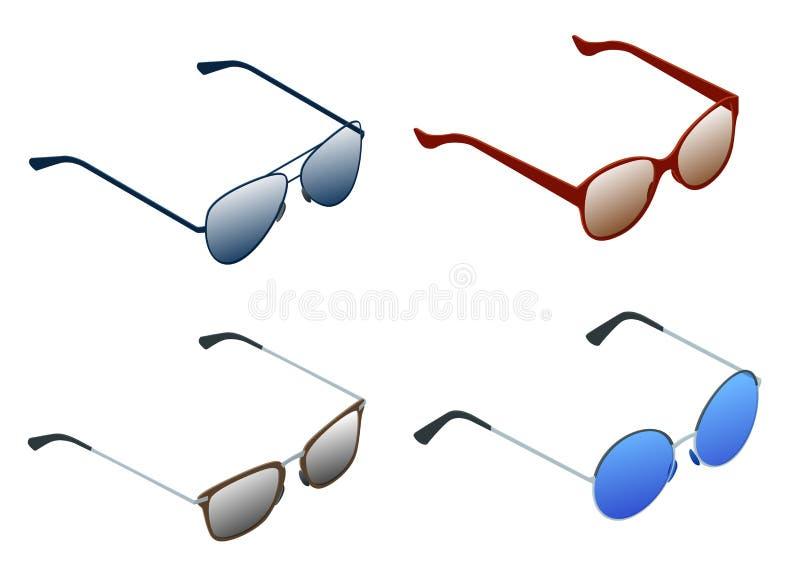 Grupo isométrico de óculos de sol isolados no fundo branco Óculos de sol fêmeas e masculinos por férias de verão ilustração stock