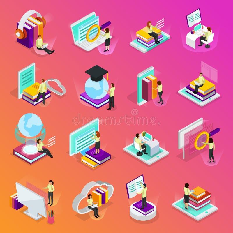 Grupo isométrico de aprendizagem em linha dos ícones ilustração royalty free