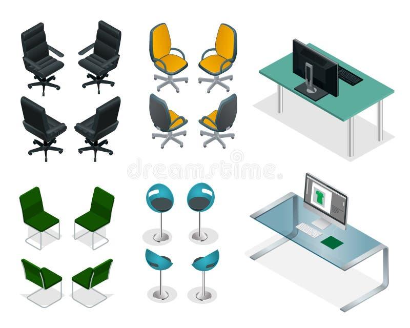 Grupo isométrico de cadeiras e de tabelas do escritório Mobiliário de escritório fácil do VIP em um fundo branco ilustração do vetor