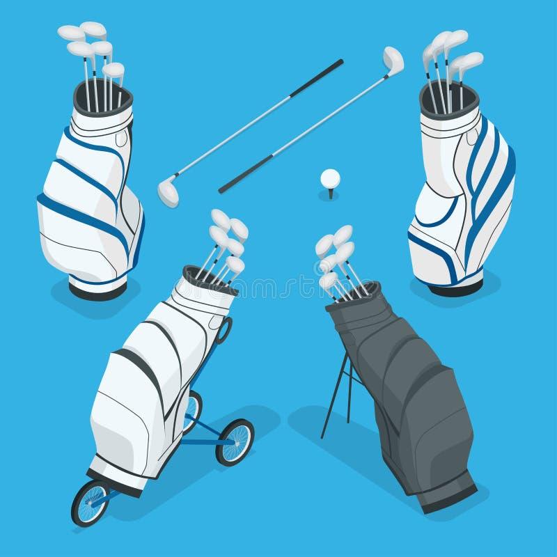 Grupo isométrico de clubes de golfe em um saco branco Ilustração lisa do vetor 3d no fundo branco ilustração stock