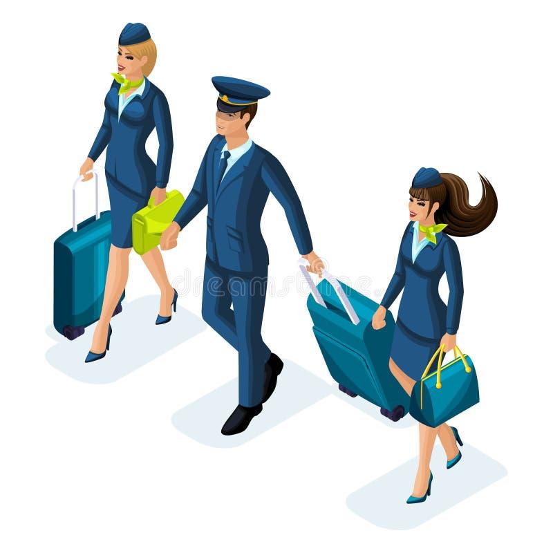 Grupo isométrico de empleados de líneas aéreas internacionales, azafata, tablero aerotransportado, piloto, capitán de los aviones libre illustration