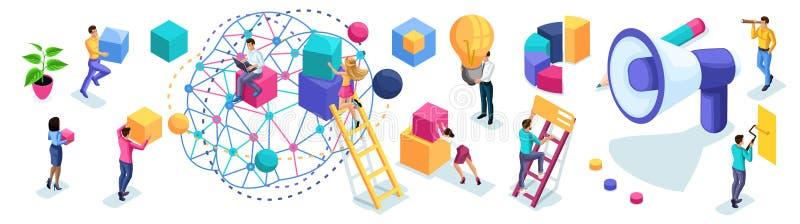 Grupo isométrico de empresários para criar o desenvolvimento de anúncio dos conceitos, da sessão de reflexão, do planeamento e da ilustração royalty free