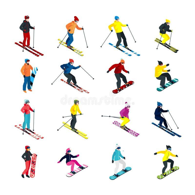 Grupo isométrico de esqui ilustração royalty free