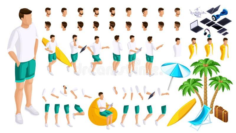 Grupo isométrico de gestos das mãos e dos pés de um adolescente do homem 3d, indivíduo do resto na praia Crie seu caráter ilustração stock