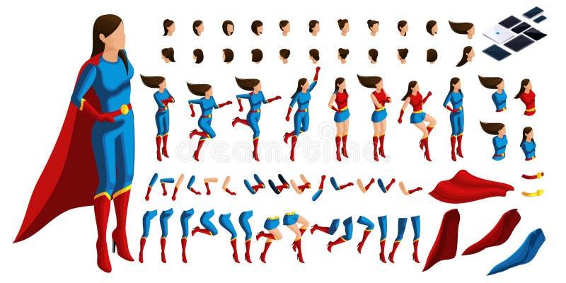 Grupo isométrico de gestos das mãos e dos pés de um super-herói da mulher 3D, menina no protetor da ordem ilustração stock