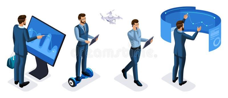 Grupo isométrico de homem de negócios com opinião traseira de opinião dianteira dos dispositivos, tabuletas, smartphone, portátei ilustração do vetor
