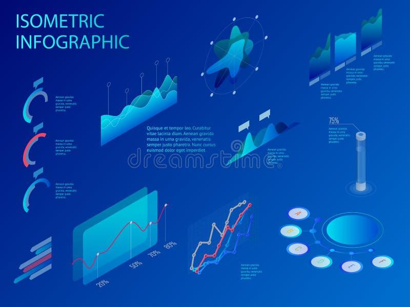 Grupo isométrico de infographics com gráficos ou diagramas financeiros dos dados, estatística dos dados da informação e elementos ilustração royalty free