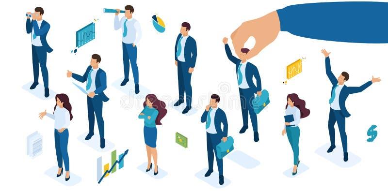 Grupo isométrico de negócio ao selecionar um candidato para a elevação da carreira, o diretor decide quem aumentar dos empregados ilustração stock