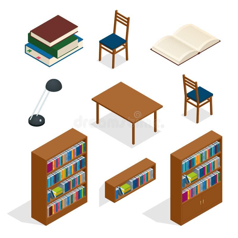 Grupo isométrico do ícone da biblioteca Os helves do catálogo do arquivo da biblioteca do armazenamento das publicações abstraem  ilustração royalty free