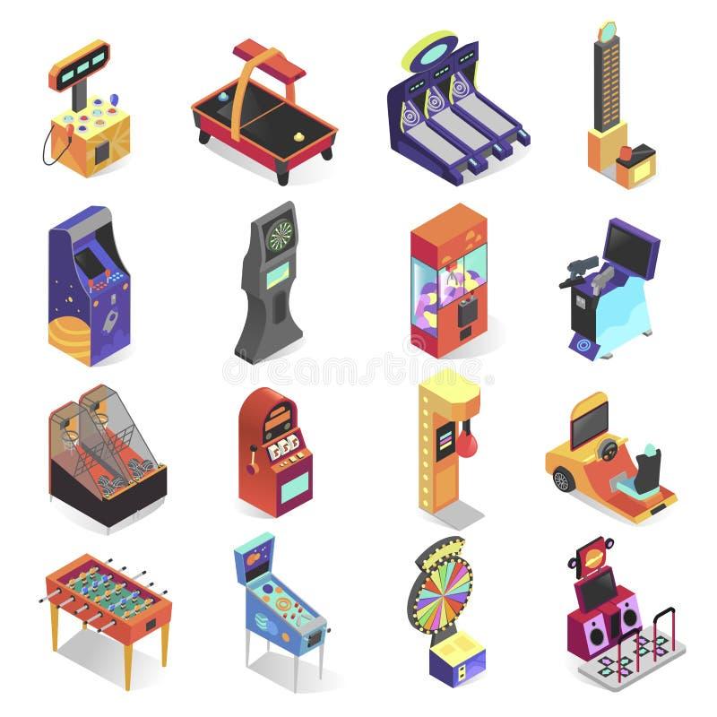 Grupo isométrico do ícone da máquina de jogo, entretenimento eletrônico ilustração do vetor