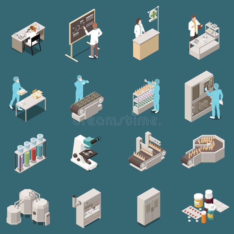 Grupo isométrico do ícone da produção farmacêutica ilustração stock
