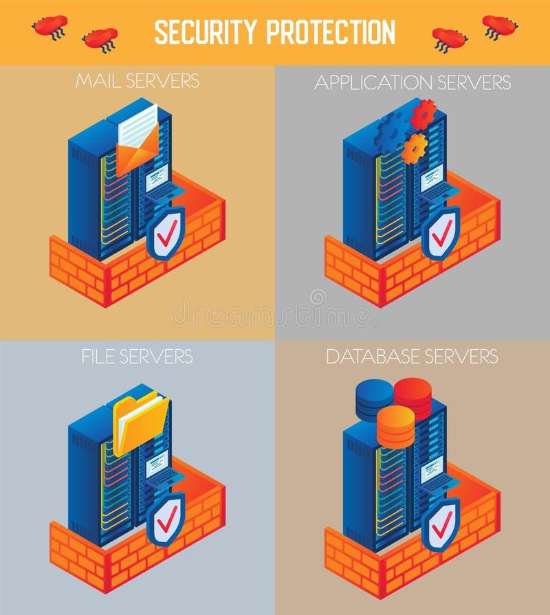 Grupo isométrico do ícone da proteção de segurança do vetor ilustração royalty free