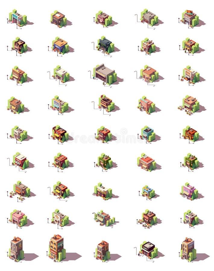 Grupo isométrico do ícone das lojas do vetor ilustração stock