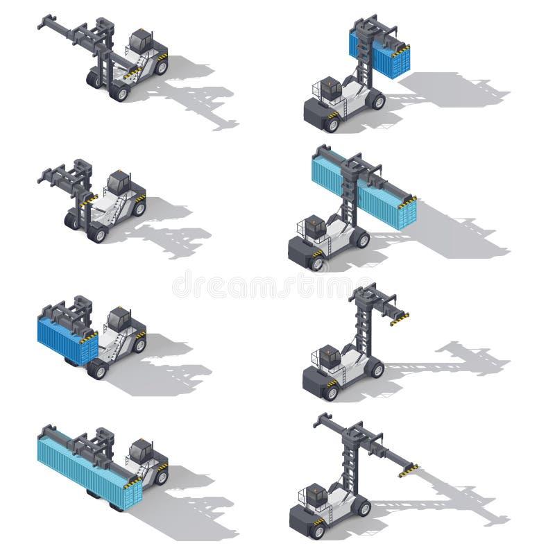 Grupo isométrico do ícone do carregador completo do porto do recipiente ilustração stock