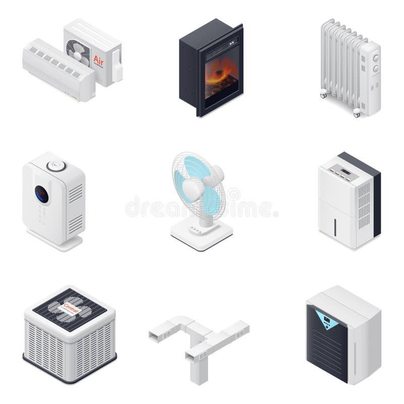 Grupo isométrico do ícone do equipamento home do clima ilustração royalty free